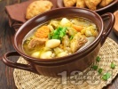 Рецепта Супа със свинско месо, картофи, моркови, бял боб и зелен фасул (зелен боб) от консерва или буркан